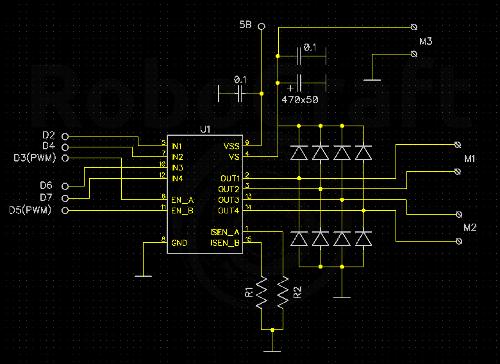 Резисторы R1 и R2 — шунты для