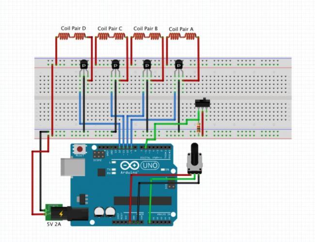 Схема подключения шагового двигателя к Arduino
