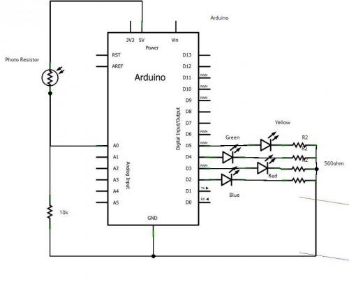 Схема подключения самодельного датчика цвета к Arduino