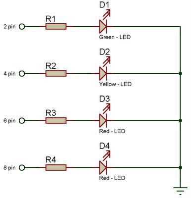 4 светодиода (2-красных,