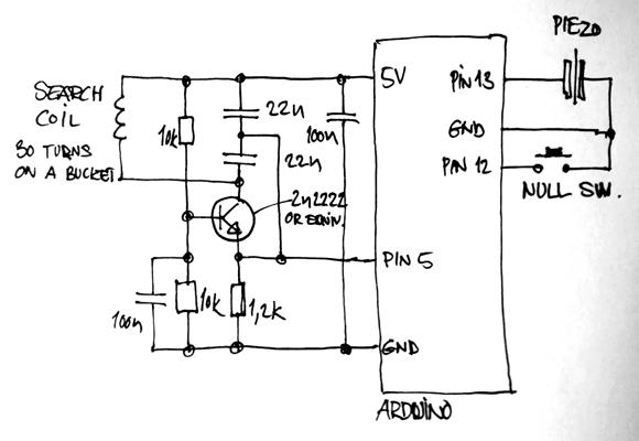 Схема металлоискателя на Arduino