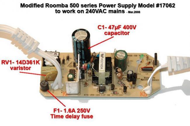 Переделка адаптера питания iRobot Roomba под 220В