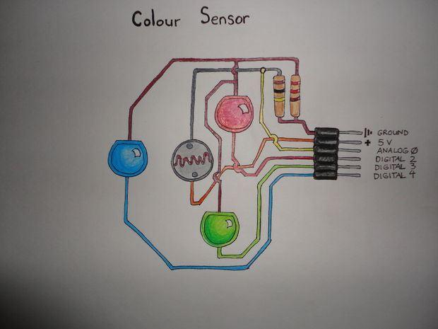 Датчик цвета из RGB-светодиода и фотоэлемента