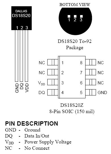 температурный 1-Wire датчик DS18S20