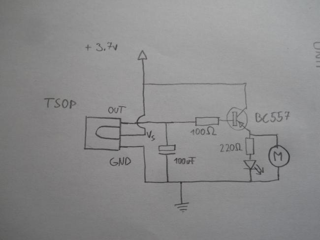 Принципиальная схема для управления моторчиком с пульта от телевизора